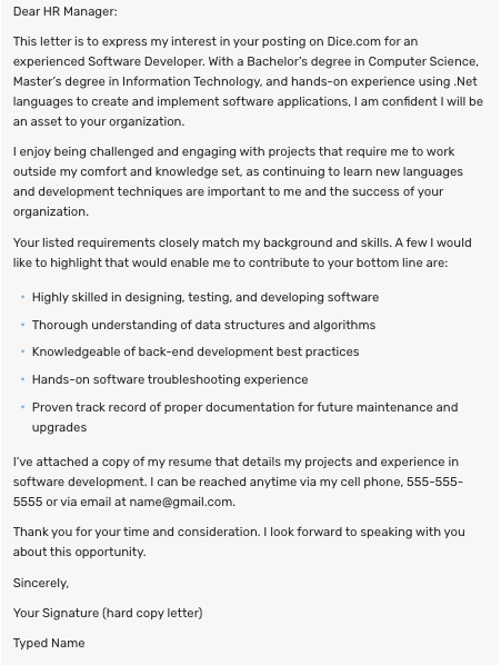 Dear Recruiter Cover Letter from glints.com