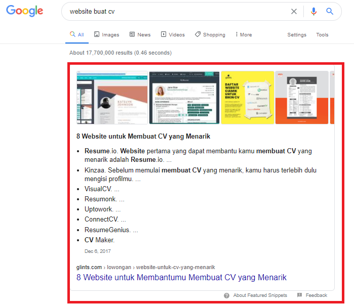 contoh featured snippets