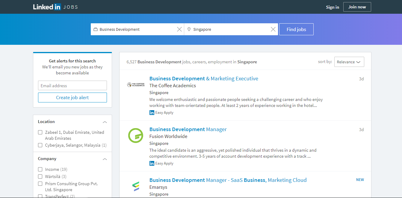 linkedin job portal in singapore