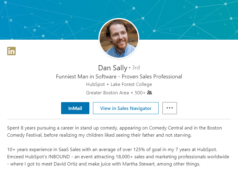 dan sallys personal branding approach employs the use of comedy something thats intricately linked to his past experience before becoming a software